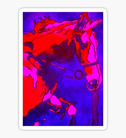 Pony In Neon Pink and Blue Sticker
