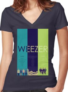 Blue To Green: Weezer's First 3 Albums Women's Fitted V-Neck T-Shirt