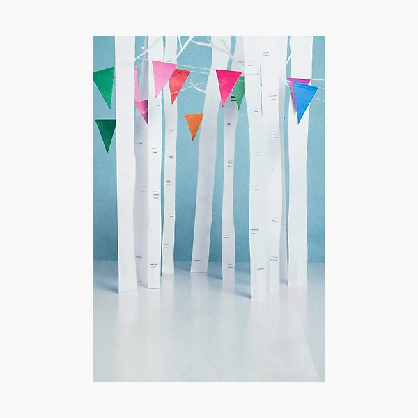 Bunting and Birch... Photographic Print