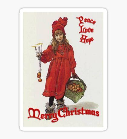 Peace, Love and Hope at Christmas After Larrson Sticker