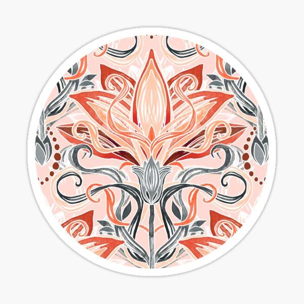 Coral and Grey Watercolor Art Nouveau Aloe Sticker