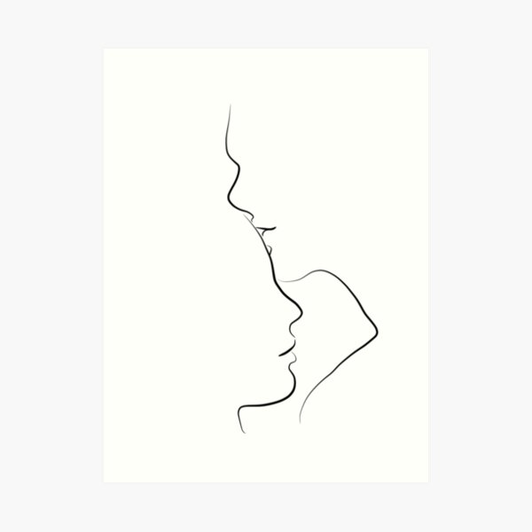 Forehead Kiss Line Art Drawing in Black and White Art Print