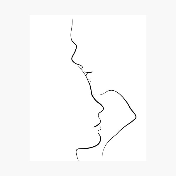 Forehead Kiss Line Art Drawing in Black and White Photographic Print