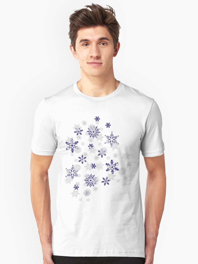 Heart Filled With Blue And White Snowflakes Unisex T-Shirt Front