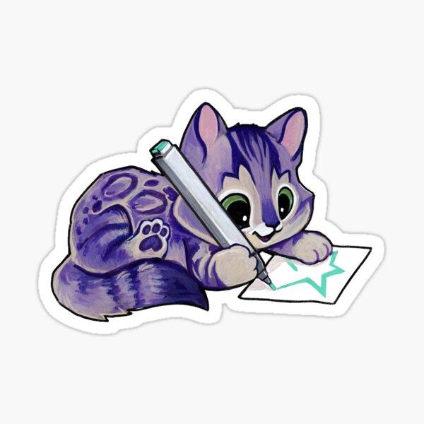 Purple drawing kitty Sticker