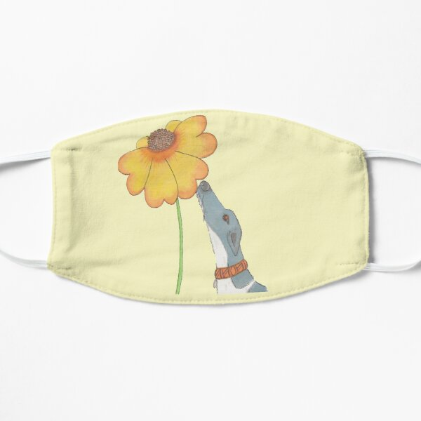 Just Sniffing Sunshine - Greyhound Sniffing a Yellow Flower Mask