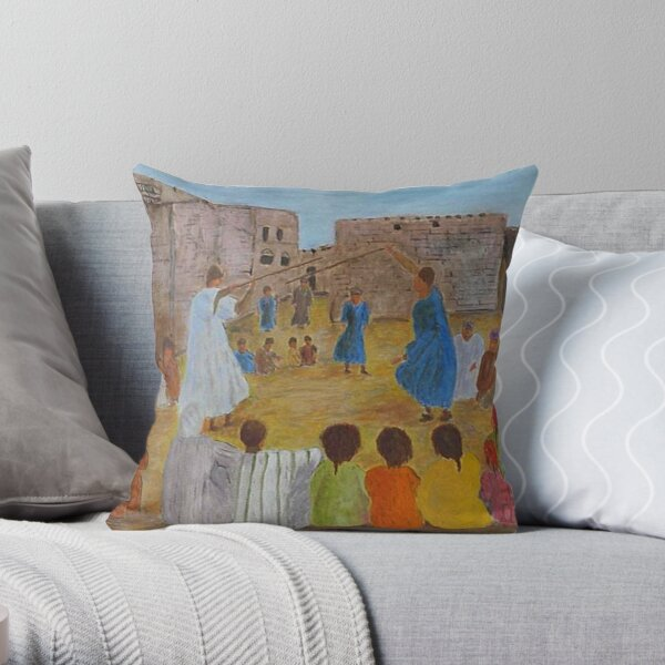 The stick fighting game Throw Pillow
