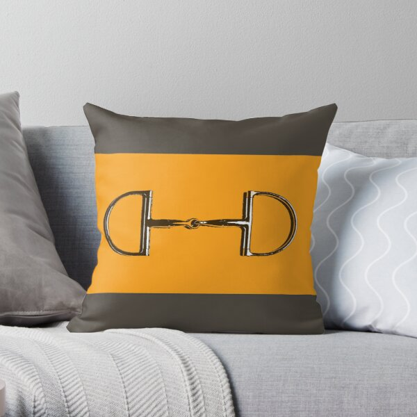 Orange Horse Bit with taupe background  Throw Pillow