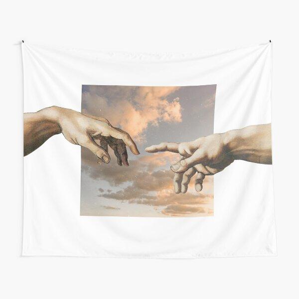 Aesthetic Michelangelo Hands of Adam Tapestry