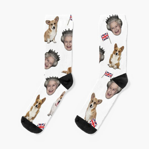 Queen Elizabeth and corgis pattern Socks