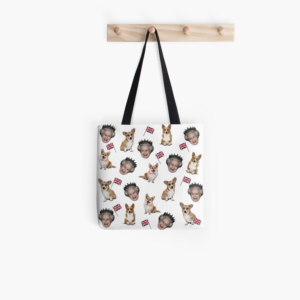 Queen Elizabeth and corgis pattern Tote Bag