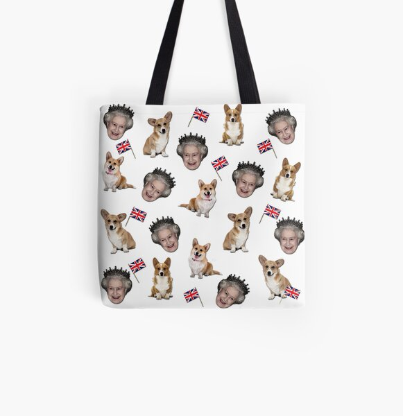 Queen Elizabeth and corgis pattern All Over Print Tote Bag