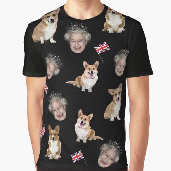 Queen Elizabeth and corgis pattern Graphic T-Shirt