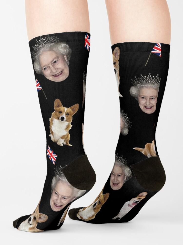 Alternate view of Queen Elizabeth and corgis pattern Socks
