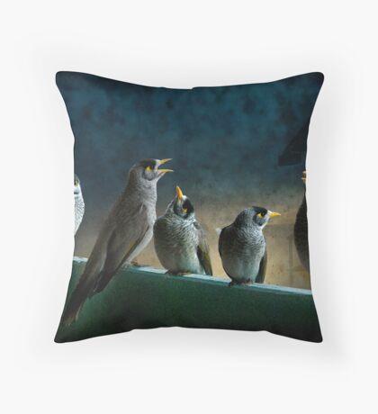 five birdies on a balcony Throw Pillow