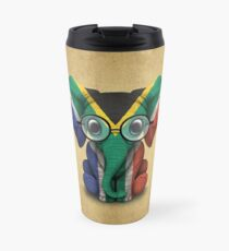 Baby Elephant with Glasses and South African Flag Travel Mug