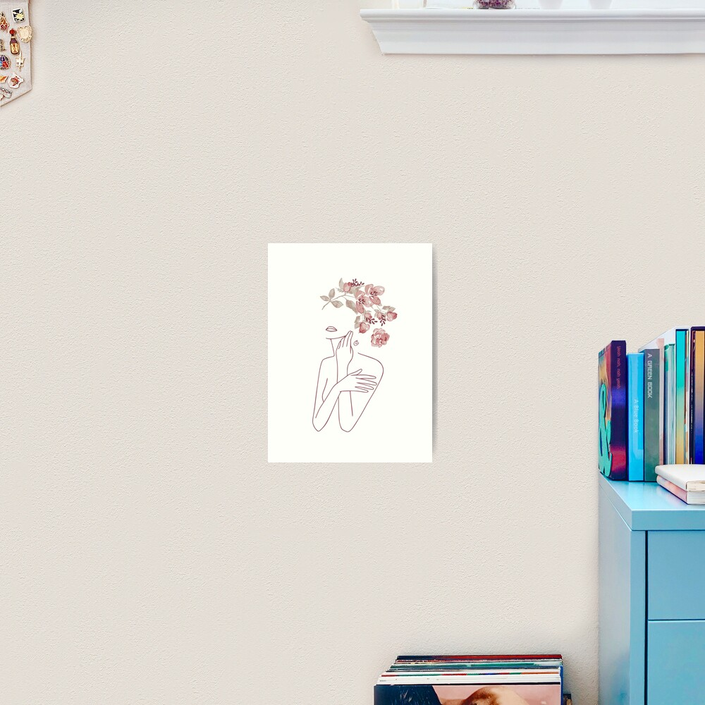 Minimal Line Art Drawing Woman With Roses Flowers Art Print