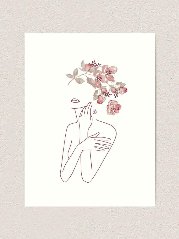 Alternate view of Minimal Line Art Drawing Woman With Roses Flowers Art Print