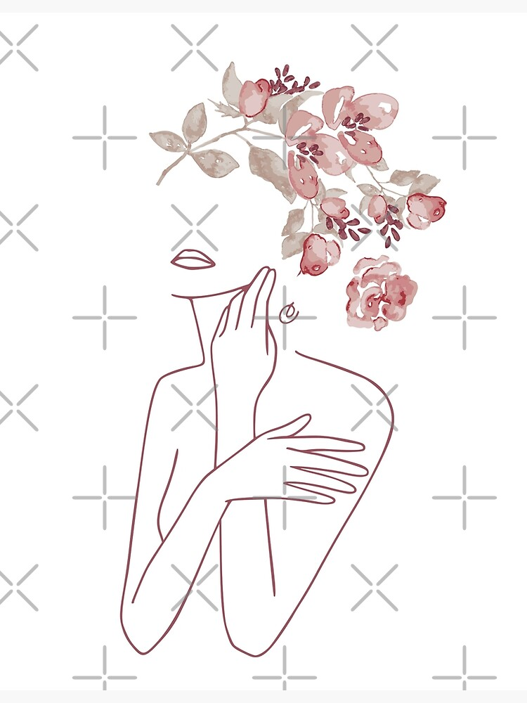 Minimal Line Art Drawing Woman With Roses Flowers by UtArt