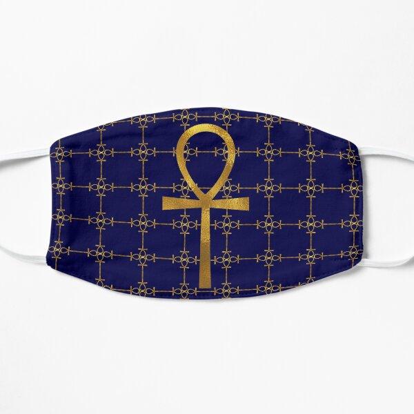 Blue and Gold Egyptian Ankh - Key Of Life Mask Flat Mask