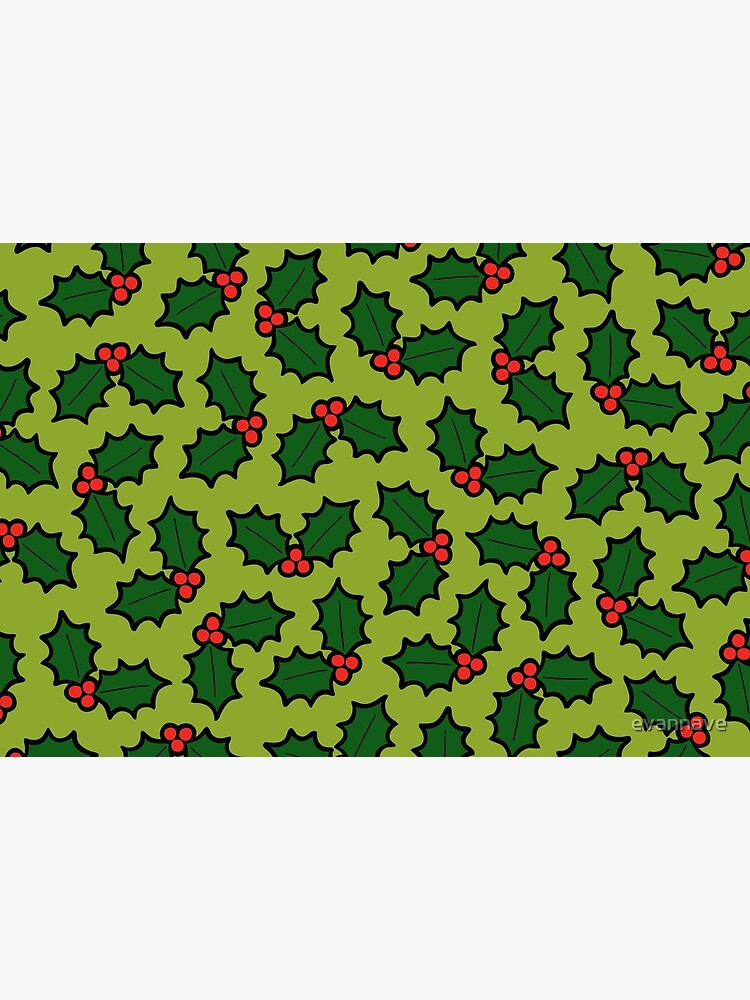 Holly Leaves and Berries Pattern in Light Green by evannave