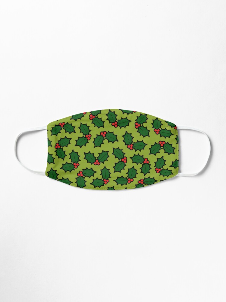 Alternate view of Holly Leaves and Berries Pattern in Light Green Mask