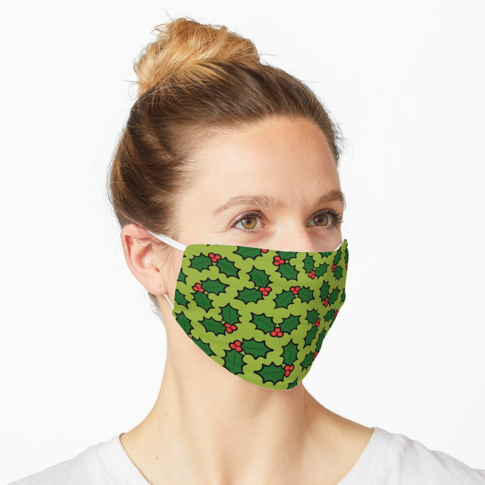 Holly Leaves and Berries Pattern in Light Green Mask