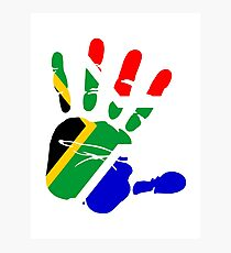 Flag of South Africa Handprint Photographic Print