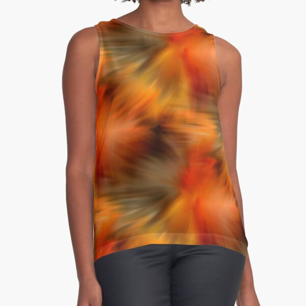 Abstract Orange Brown Yellow Colors Sleeveless Top