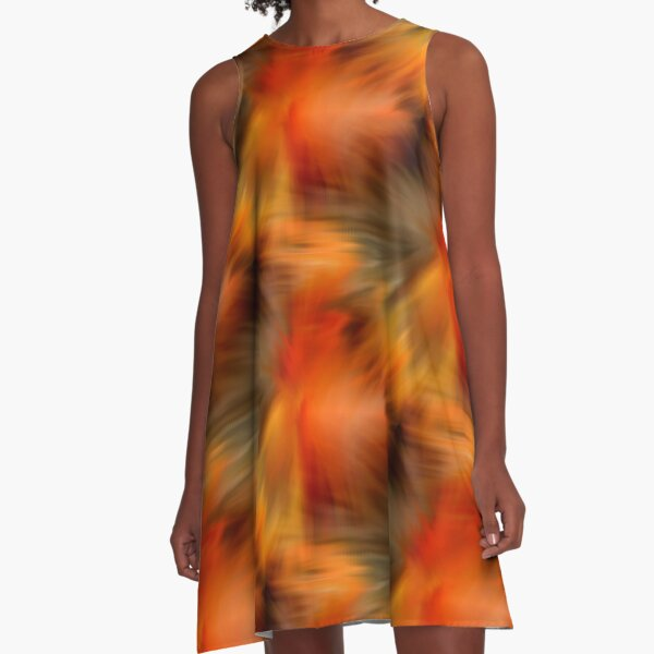 Abstract Orange Brown Yellow Colors A-Line Dress