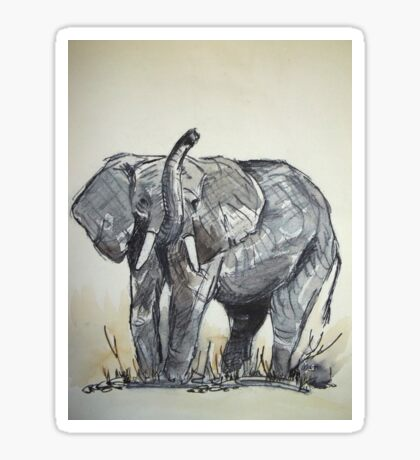 Lodge décor - African Elephant sketch Sticker