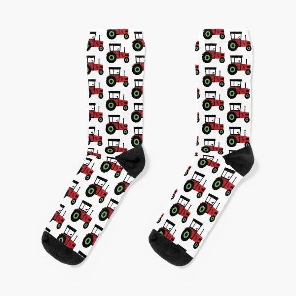 Red and green tractor Socks