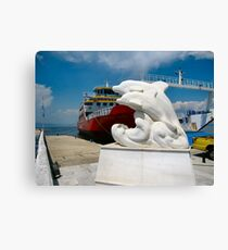 The Thassos Island ferry.With new statue. Leinwanddruck