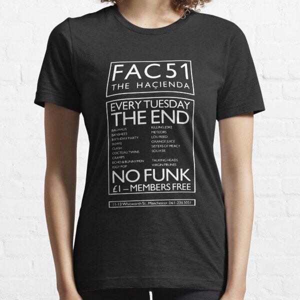 FAC 51 HACIENDA - 1980 '- Indie Night Poster impression blanche. T-shirt essentiel