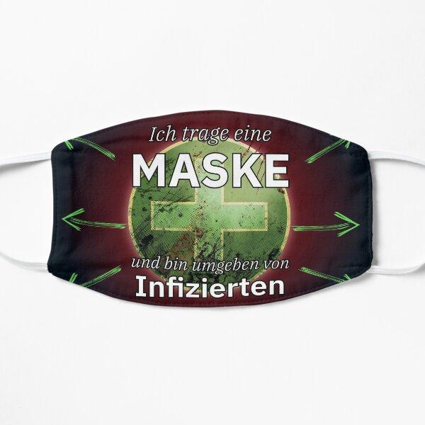 Mit Maske und von Infizierten umgeben. Maske
