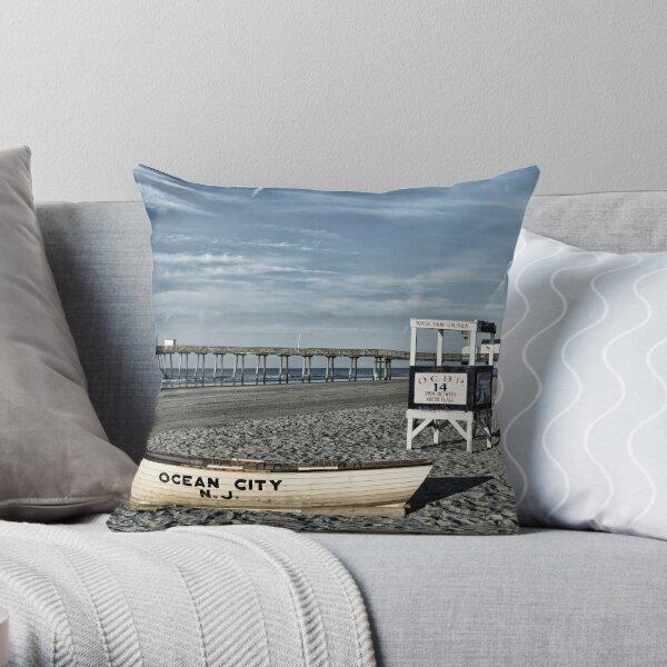 The Beach At Ocean City, NJ Throw Pillow