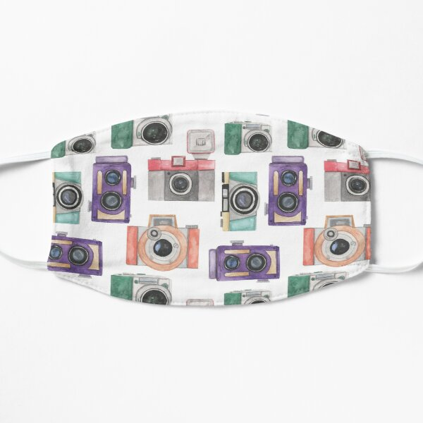 Pretty Camera Flowers Photography Photographer| pink Blue Purple Flowers Watercolor | Pretty Face Masks Dust Masks  Mask