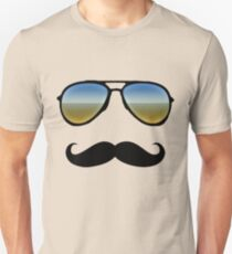 Aviator Sunglasses and Handlebar Mustache Unisex T-Shirt