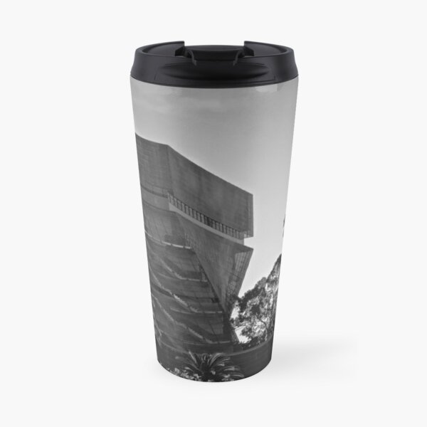 De Young Museum in Black and White Travel Mug