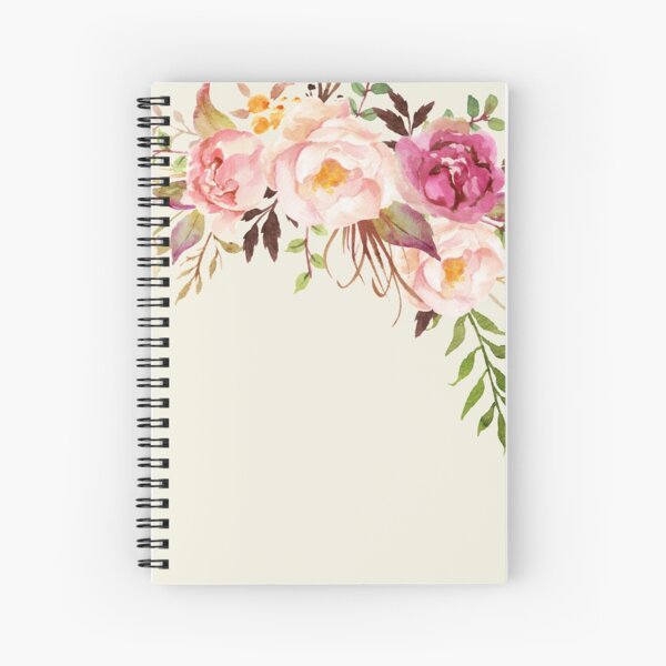Romantic Watercolor Flower Bouquet Spiral Notebook