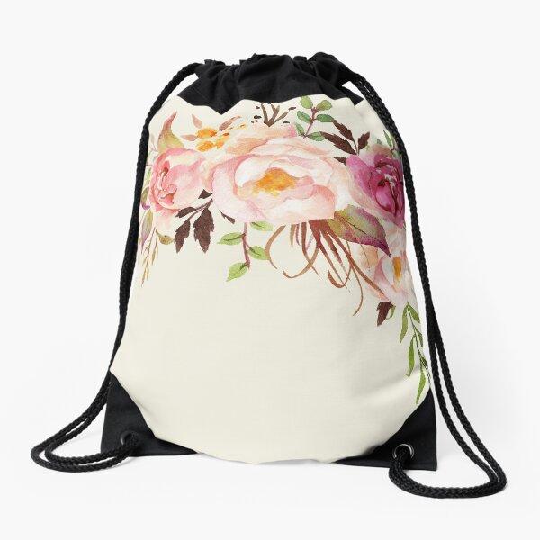 Romantischer Aquarell-Blumenstrauß Turnbeutel