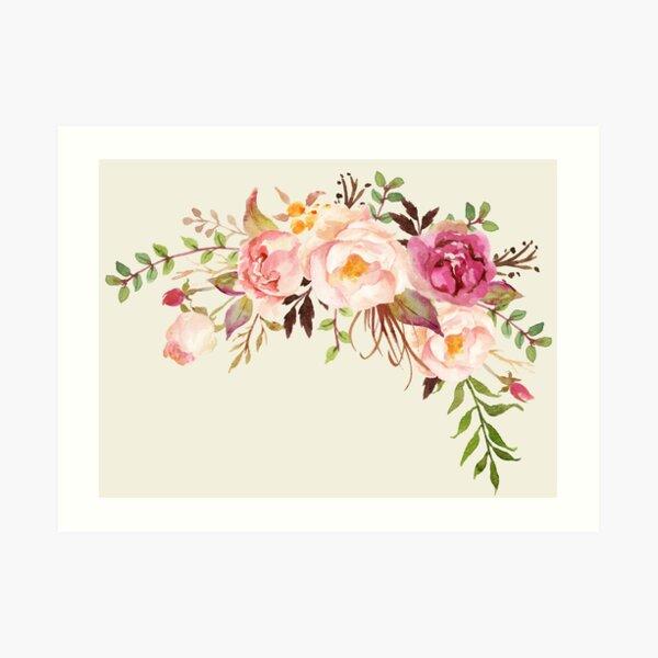 Romantischer Aquarell-Blumenstrauß Kunstdruck