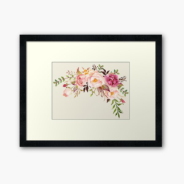 Romantic Watercolor Flower Bouquet Framed Art Print