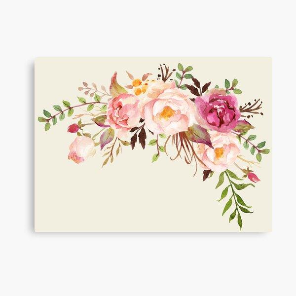 Romantic Watercolor Flower Bouquet Canvas Print