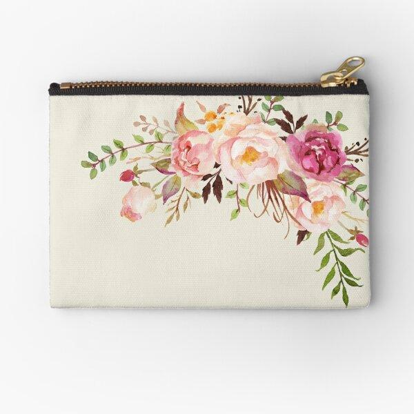 Romantic Watercolor Flower Bouquet Zipper Pouch