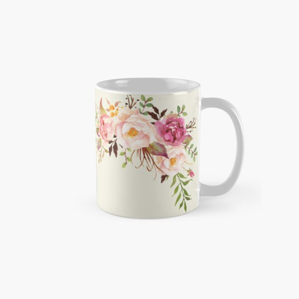 Romantic Watercolor Flower Bouquet Classic Mug