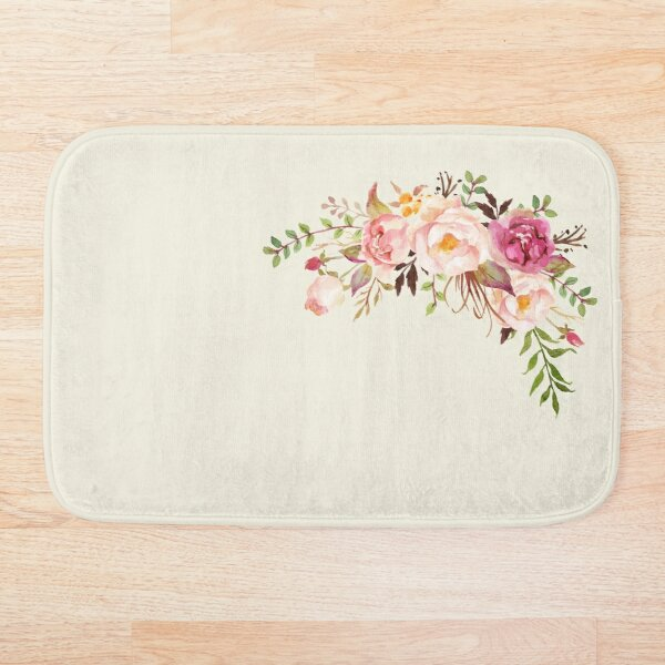 Romantic Watercolor Flower Bouquet Bath Mat