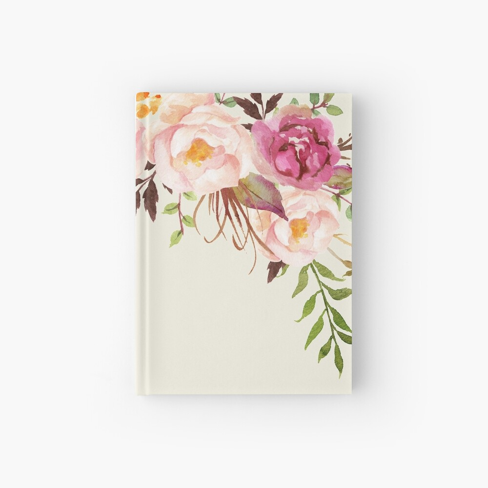 Romantic Watercolor Flower Bouquet Hardcover Journal