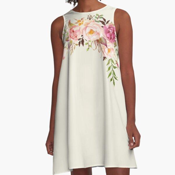 Romantischer Aquarell-Blumenstrauß A-Linien Kleid