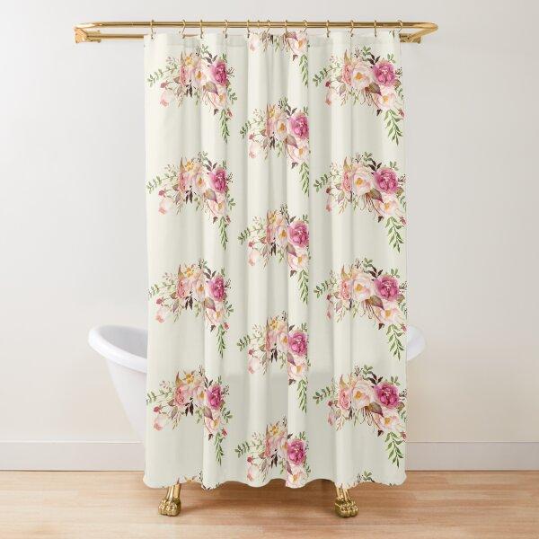 Romantic Watercolor Flower Bouquet Shower Curtain